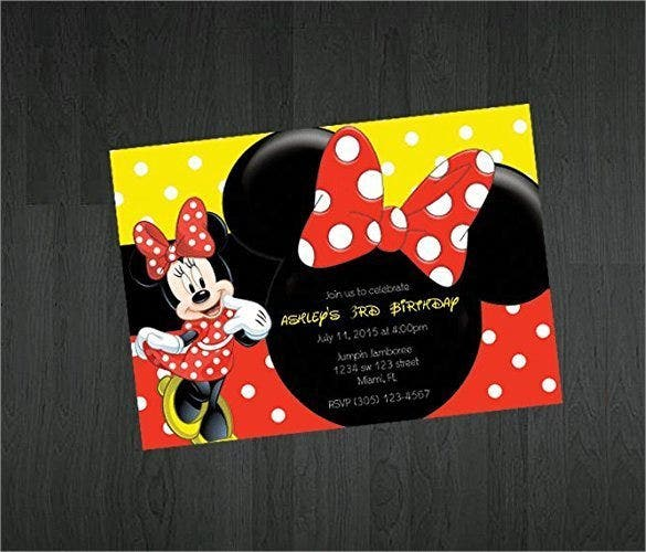 Handmade Minnie Mouse Themed Birthday Invitation
