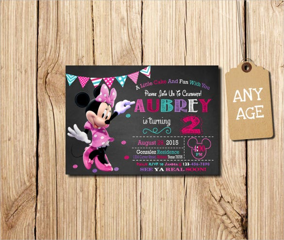 colourful minnie mouse birthday invitation for any age