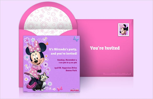 purple pink colour minnie mouse birthday invitation