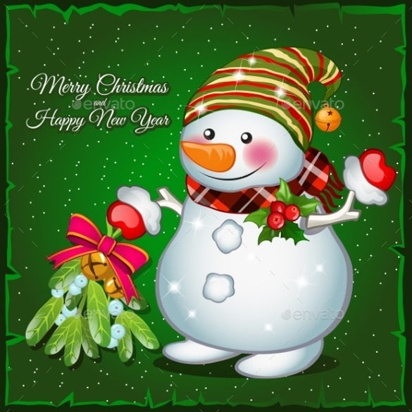 snowman with brooch on a green background eps