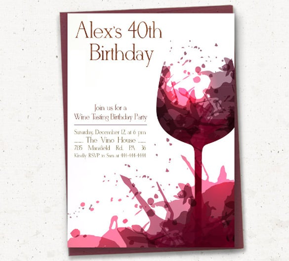 Red Adult Birthday Party Celebration Invitation  Free Birthday Party Invitation Template