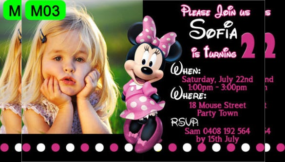 black coloured minnie mouse birthday invitation with custom photo