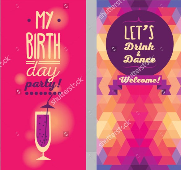 Adult Birthday Invitation Template Free PSD Vector EPS AI - Free birthday invitation templates for adults
