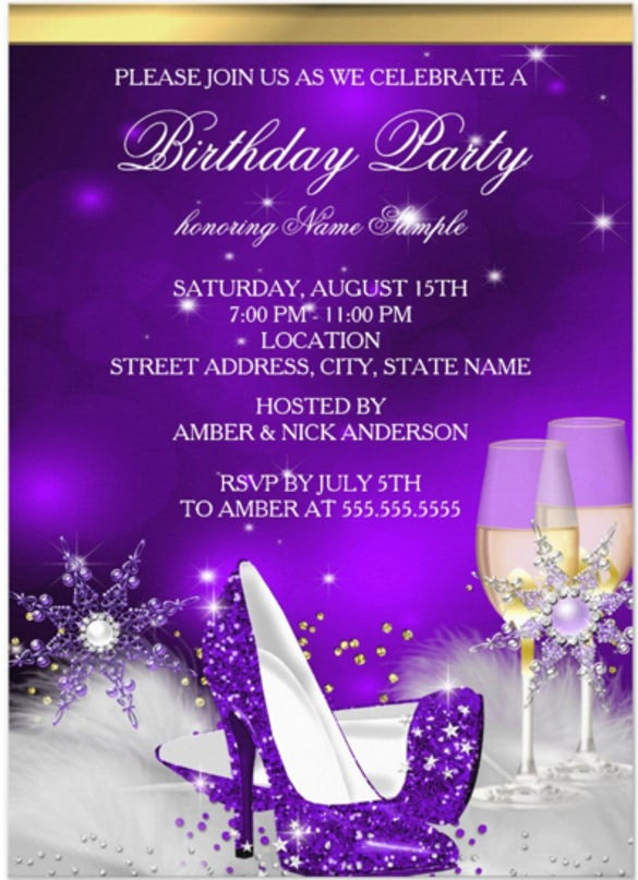 purple high heel shoes silver gold champagne birthday party invitation card