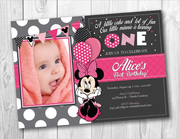 photo framed minnie mouse birthday invitation for download