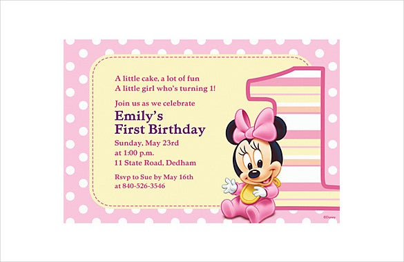 custom pink dotted minnie mouse birthday invitation