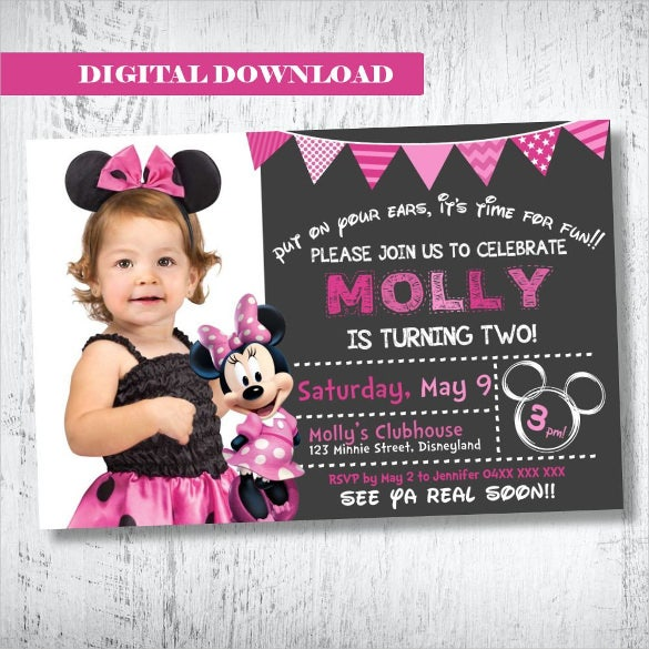 creative and elegant minne mouse birthday invitation for girls
