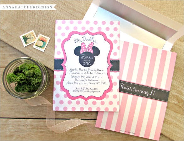pink coloured high quality minnie mouse birthday invitation
