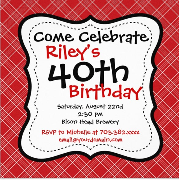 red black plaid 40th birthday party invitations