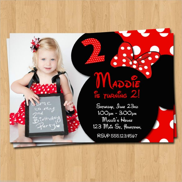 red and black minnie mouse birthday invitation with custom photo