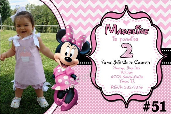 pink chevron minnie mouse birthday invitation with photo
