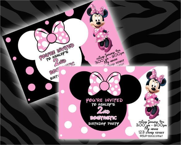 printable minnie mouse birthday invitations for small children