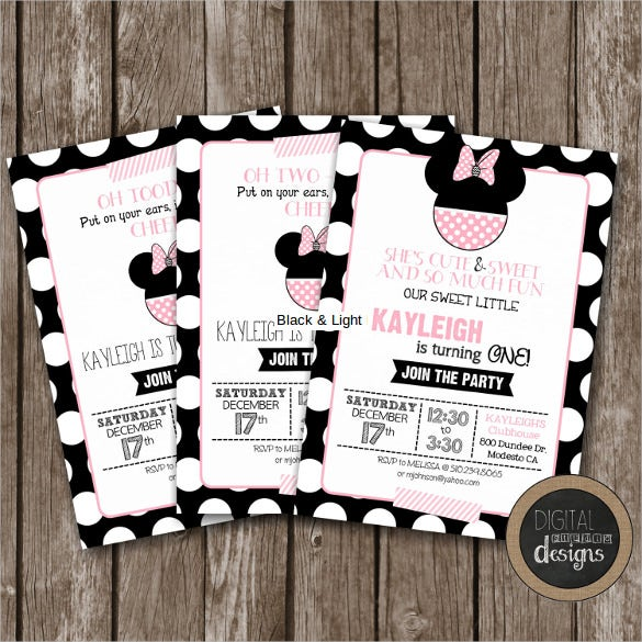 black light pink classy minnie mouse birthday invitation1
