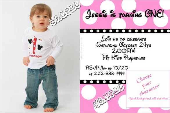 grey and pink colour with custom photo minnie mouse birthday invitation