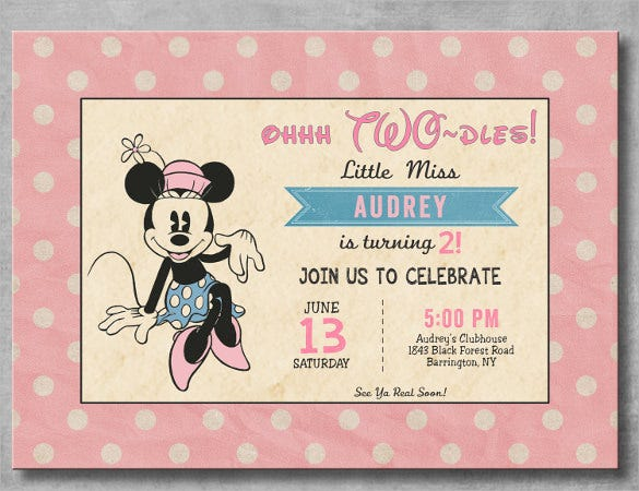 Minnie Mouse Birthday Invitation Templates Free Sample - Vintage girl birthday invitation
