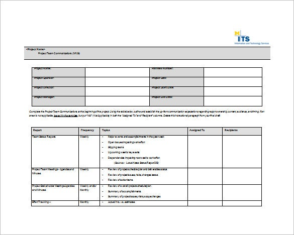 Project Team Communication Plan Word Format Free Download