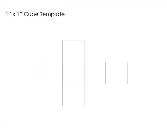 free 1 x 1 paper cube template example