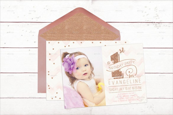 First Birthday Invitation Templates Free Sample Example - 1st birthday invitations gold and pink