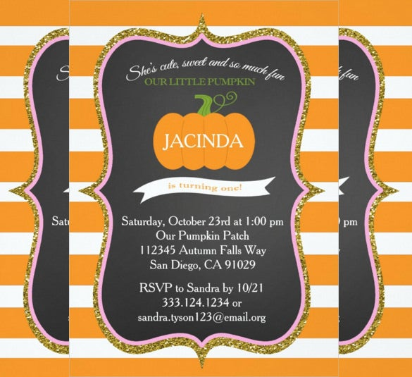 orange pumpkin first birthday invitation for girl