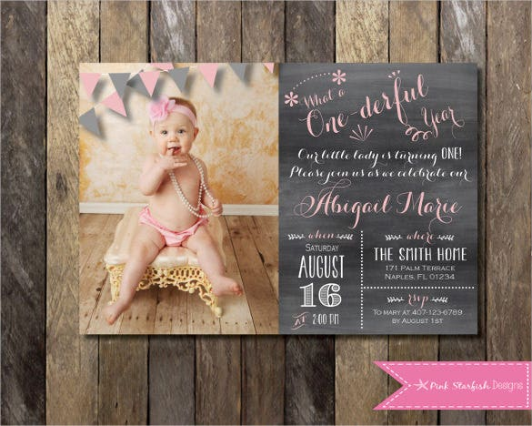 Creative And Beautiful First Birthday Invitation With Picture