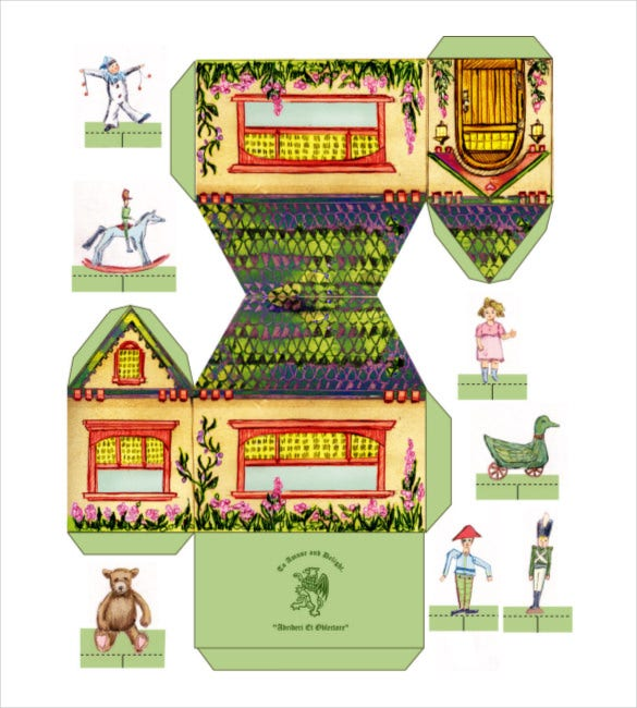 farm house with tiny paper template pdf download