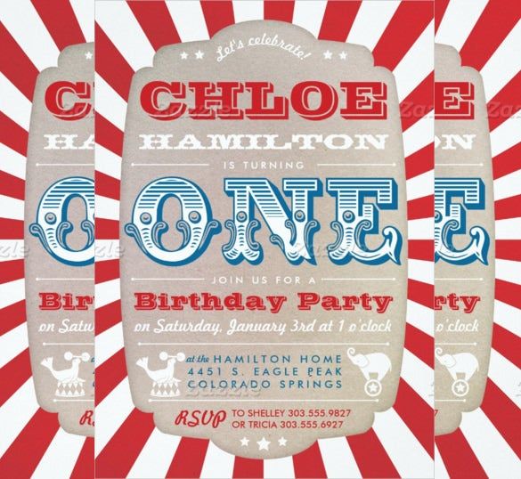 elegant red coloured carnival themed first birthday invitation