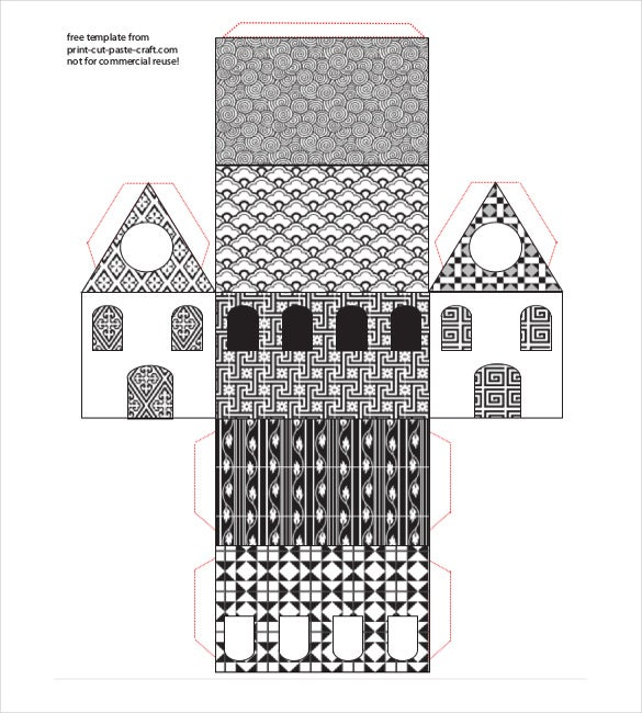 beautiful black and white patterned paper house