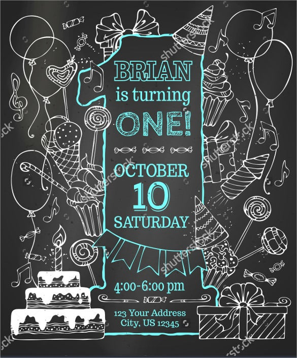 hand drawn chalk first birthday invitation
