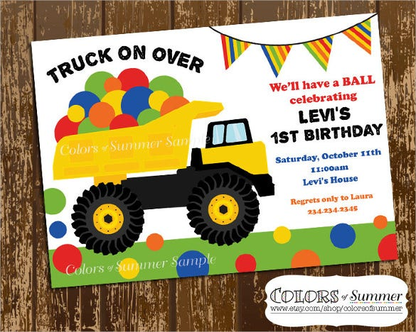 simple truck on over invitation first birthday invitation