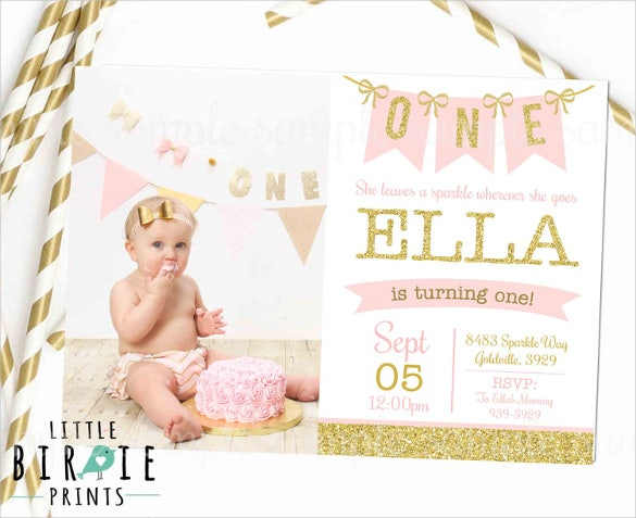 Pink And Gold 1St Birthday Invitation – First Birthday Invitation Templates Free