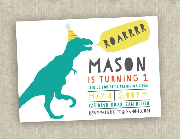 dinosaur themed first birthday invitation