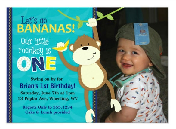 monkey bananas first birthday photo invitation with custom photo