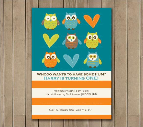 owl print first birthday invitation