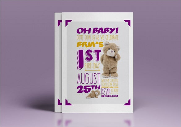 simple and cute babys first birthday invitation