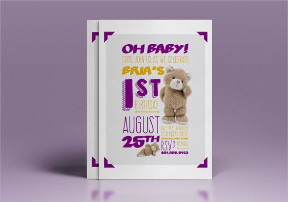 34 first birthday invitation templates word psd vector eps ai