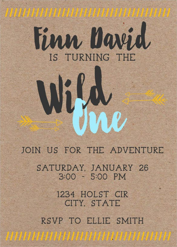 brown coloured wild one first birthday invitation