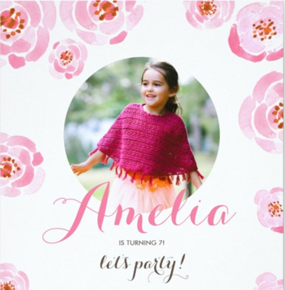pink roses photo birthday party invitation