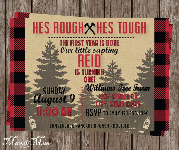 lumberjack first birthday invitation for boy