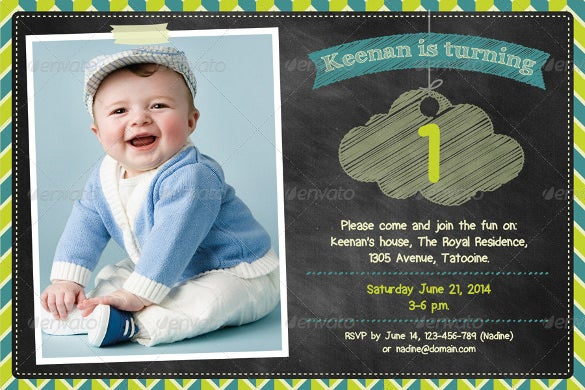 birthday celebration invitation card with colourful chalkboard