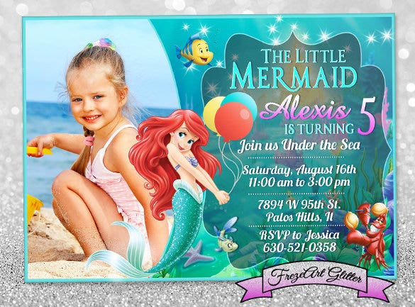 Personalized Birthday Invitations Free PSD Vector EPS AI - Custom ariel birthday invitations