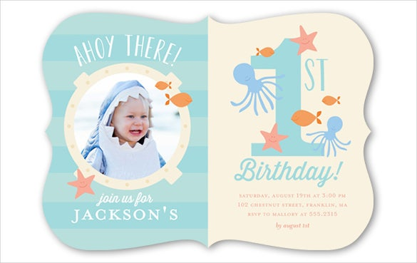 First Birthday Invitation Templates Free Sample Example - Birthday invitations for baby boy 1st
