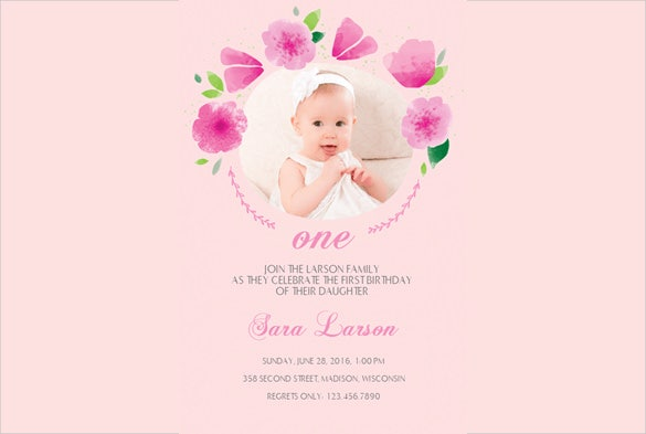 pink coloured custom photo design first birthday invitation