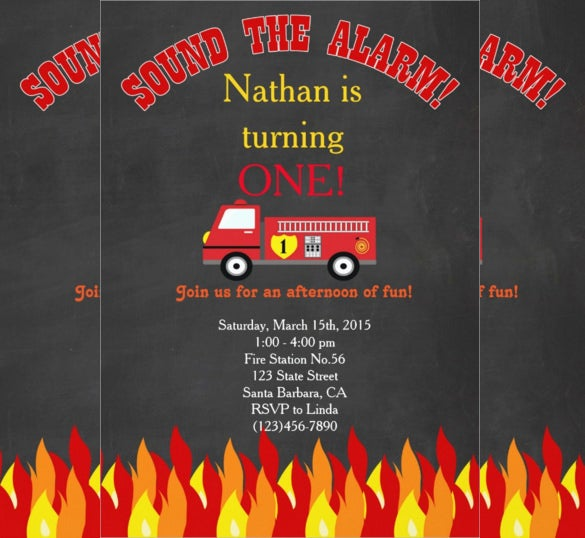 firetruck fire engine themed first birthday party invitation