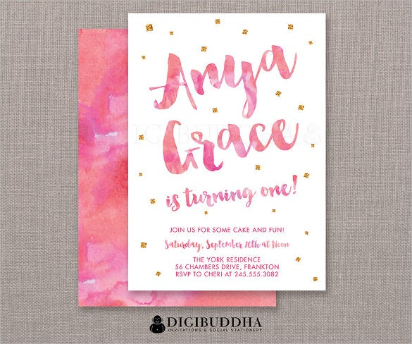 pink watercolor first birthday invitation for girls