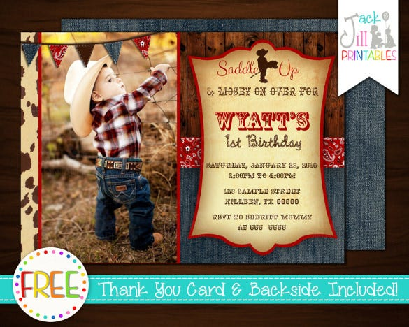 western cowboy birthday party celebration invitation