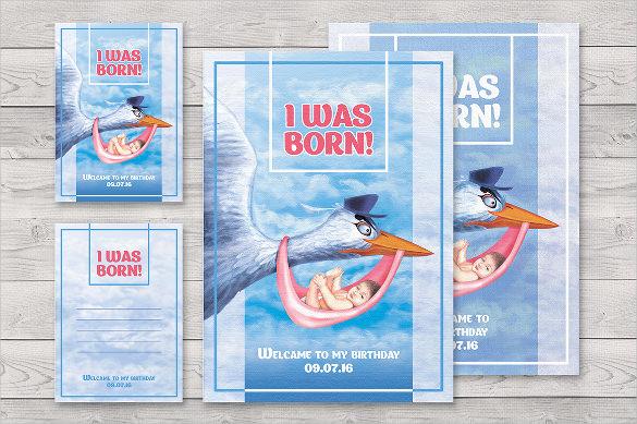 blue coloured first birthday invitation