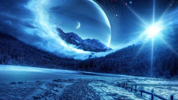 winter night mountain road planet background
