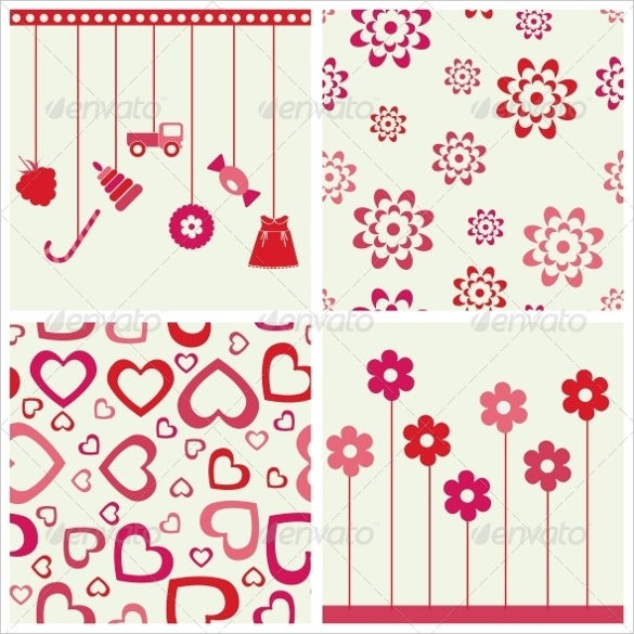 flowers and heart set girly background download