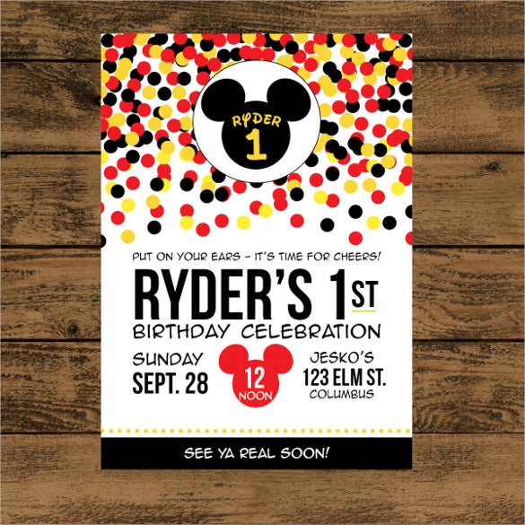 20 Mickey Mouse Birthday Invitation Templates Free Sample – Mickey Mouse Invitation Template