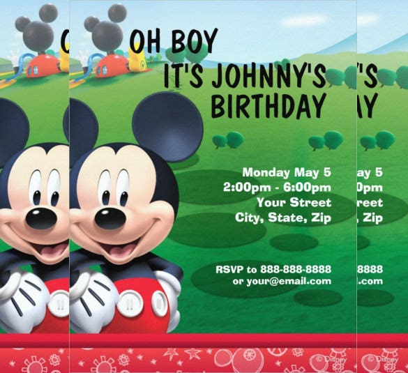 disney mickey mouse birthday invitation for download